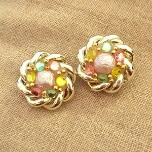 1960s vintage chunky pastel clip earrings